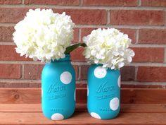 Painted mason jar, Aqua mason jar, baby shower decor, polka dot mason jar - pinned by pin4etsy.com