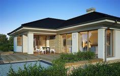 Zdjęcie projektu Julia WRP1452 Modern Bungalow House, Bungalow House Plans, House Floor Plans, House Layout Plans, House Layouts, Model Homes, Outdoor Rooms, Home Fashion, Exterior Design