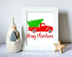 Christmas Tree Truck Old Truck Vintage by FotoCanvasDesigns