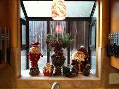 Christmas kitchen window display.