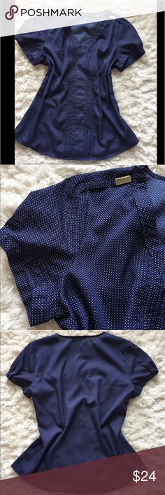 The Limited cap-sleeve Blouse Blue polka-dot Blouse with cap-sleeves and cute gold detail The Limited Tops Blouses