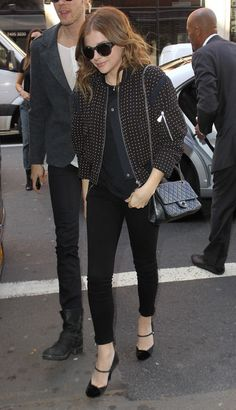 Chloe Grace Moretz Has a Super Cute Styling Trick to Dress Up an All Black Outfit