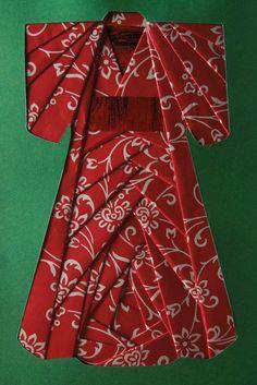 handmade card featuring iris folding with a Japanese kimono ... LA RECETTE D'UN BON MOMENT PARTAGE : * Je fais les découpes au cutter . * Je coupe et je plie en deux, les bandes de papier...