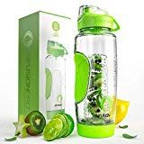 Fruit Infused Water Bottle with Insulated Sleeve & Infusing eBook :: Bottom Loading, Large Cage for More Flavor & Pulp Strainer :: Delicious, Healthy Way to Up Your Water Intake Flavored Water Bottle, Fruit Water Bottle, Fruit Infuser Bottle, Bpa Free Water Bottles, Fruit Infused Water, Fusion Water, Bottle Sizes, Lemon Water, Refreshing Drinks