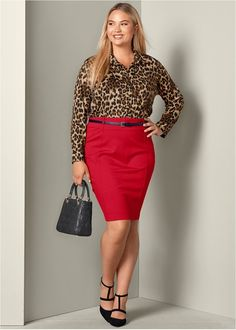 Plus Size Mixed Media Dress Casual Party Dresses, Plus Size Formal Dresses, Casual Skirt Outfits, Plus Size Outfits, Lounge Dresses, Look Plus Size, Plus Size Women, Pencil Skirt Outfits, Plus Size Kleidung