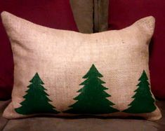 Pine Tree Pillow, Burlap Pillow, Cabin Decor, Cabin Pillow, Evergreen, Pine Tree, Christmas, Country Primitive, Primitive Decor, Forest