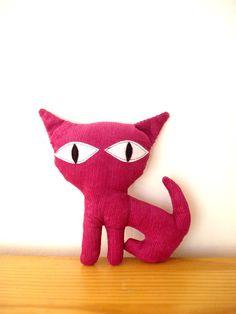 Kitty Colored Corduroy Fucshia by cronopia6 on Etsy, $14.00