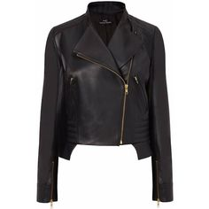 Nicole Coste - Black Leather Jacket Perfecto (€2.485) ❤ liked on Polyvore featuring outerwear, jackets, leather jackets, biker style leather jacket, leather biker jacket, genuine leather jacket, real leather jacket and biker jacket