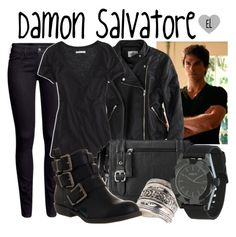 """""""Damon Salvatore -- The Vampire Diaries"""" by evil-laugh ❤ liked on Polyvore featuring American Eagle Outfitters, H&M, Relic, Miss Selfridge, Blowfish, Neff, DamonSalvatore, tvd and thevampirediaries"""