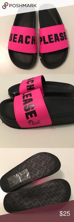 "VS Pink Beach Please Slides 💕 NWT VS Pink ""Beach Please"" slides - black and pink. Size Med (7/8). PINK Shoes Sandals"