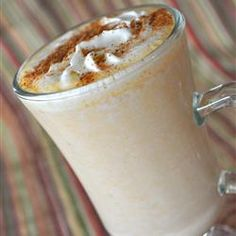 Famous No Coffee Pumpkin Latte Allrecipes.com..My favorite with a few changes! I use brown sugar and lots more, a pinch of salt, and about 1/2 tsp cloves. I use my own baked pumpkin but I put it inthe blender so it gets smooth and frothy. Pumpkin pie in a cup. Heaven!!