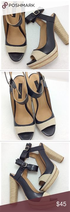Ann Taylor Wrapped Heels Gorgeous multi-texture heels by Ann Taylor. Sleek black leather, creamy Linen and tan twine comprise this chunky peep-toe heel. Stunning. Ann Taylor Shoes Heels