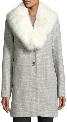 6fa6a663b84 T Tahari Olivia Faux-Fur Wool-Blend Coat, Heather Gray Faux Fur Lined