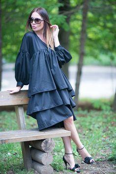 Mothers day Gift -20% Women's Clothing, Black Dresses, Summer Dress, Flounces Dress, Cotton Flounces Dress, Long Dress by EUG fashion by EUGfashion on Etsy