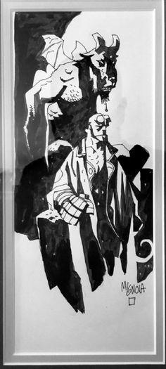 Hellboy pinup circa 2000 by Mike Mignola Comic Art