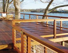 Deck railing idea for our redo. ~ Jeremy wants vertical black iron, I want this....we will see who wins. ;)