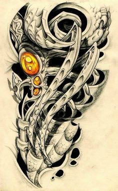 Татуировка Эскиз татуировки Биомеханика и Органика