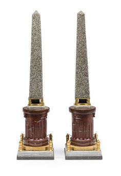 A pair of Continental Neoclassical style gilt bronze mounted porphyry granite obelisks on marble pedestals, early-mid century - The pedestals of rosso antico marble, on Siena, grey-white and black marble plinths. Home Libraries, Grand Tour, Neoclassical, Black Marble, Metallica, Grey And White, Granite, Carving, Design Ideas