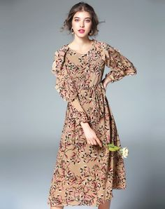 #VIPme Apricot Floral Print Belted Midi Chiffon Dress. VIPme.com offers quality dresses at affordable prices.