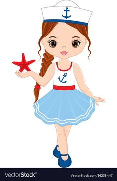 Cute little girl with starfish vector image on VectorStock Little Girl Drawing, Wine Painting, Cute Cartoon Girl, Retro Logos, Cute Little Girls, Illustration Girl, Cute Dolls, Pictures To Draw, Nail Art