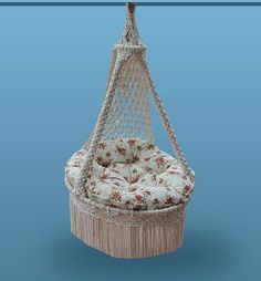 Hand Made Macrame Natural Cotton Hammock Chair Indoor Outdoor PRESTIGE...make something like this out of a papsan chair and some rope!