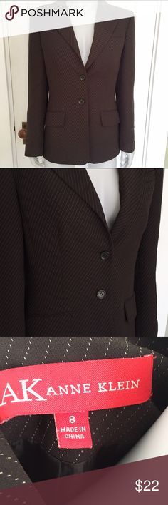 Anne Klein dark brown pinstripe blazer Nice brown blazer with white stripes. Color is closest to that in third picture. In excellent condition and perfect for professional work settings! Anne Klein Jackets & Coats Blazers