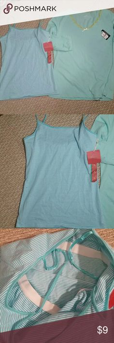 Nwt 2pcs medium tank&tee Brand new with the tag  Both size medium  Tshirt and tank Has built bra for the tank Price for both Mossimo Supply Co Tops