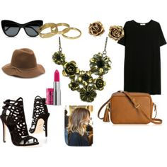 """""""Bronze flower necklace"""" by kellymparry on Polyvore"""