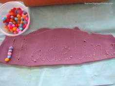Playdough names with beads!
