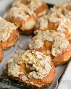 French Almond Croissants....Like Starbucks Almond Blossoms. I am thinking of using the almond filling in this recipe with puff pastry instead of the croissants!