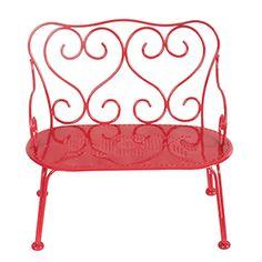 Medium raspberry red metal bunny bench - Maileg Dk