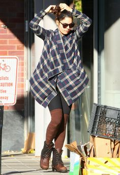 Vanessa Hudgens wearing Wildfox Steff Sunglasses Lovers + Friends Days Like These Plaid Jacket