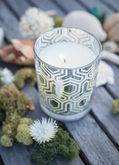 White Teak and Moss in Metallic Silver Candle by Aromatique- Enjoy this Clean Blend of Moss and Teak Wood!