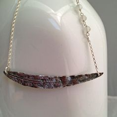 Isn't this necklace pretty, silver willow oak leaf with 3 moonstones!