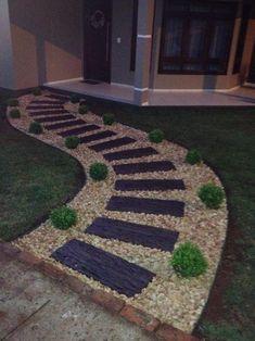 69 Ideas for backyard stone patio diy walkways Stone Garden Paths, Garden Stones, Walkway Garden, Stone Paths, Garden Hose, Front Yard Landscaping, Landscaping Ideas, Amazing Gardens, Walkway Ideas