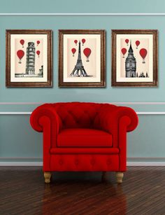 This is a set of three art prints:    Red Balloons over Big Ben, London  Red Balloons over Leaning Tower of Pisa, Italy  Red Balloons over Eiffel