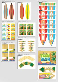 INSTANT DOWNLOAD - Teen Beach Movie Inspired - Birthday Party Package - Available in minutes - Print as many as you want