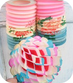 ♡Lampions Paper Decoration&Lanterns For A Party Vintage Mom, Shabby Vintage, Vintage Paper, Vintage Stuff, Honeycomb Paper, Chinese Lanterns, Crepe Paper, Tissue Paper, Vintage Birthday