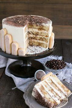 Tiramisu Cake turns your favourite Italian dessert into a delicious and decadent layer cake. Coffee soaked layers paired with mascarpone buttercream. Italian Desserts, Just Desserts, Delicious Desserts, Sweet Recipes, Cake Recipes, Dessert Recipes, Food Cakes, Tiramisu Cake, Sweet Cakes
