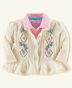 Ralph Lauren Baby Sweater, Baby Girls Flower Embroidery Pointelle Cardigan - Kids Baby Girl (0-24 months) - Macys