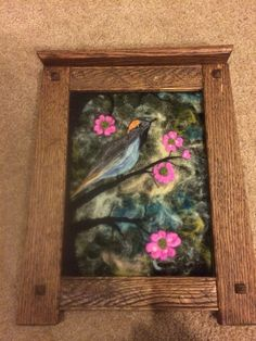 Needle felted Cedar Wax Wing on a branch.  Mission oak frame made by my husband.
