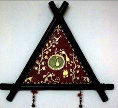 WARLI wall piece:  Warli art comprises of three shapes -a triangle,a circle & straight lines. It is done using a bamboo stick & rice flour paste on a cow-dung plastered wall that is dark olive green / red using 'geru'-a red dye. .: