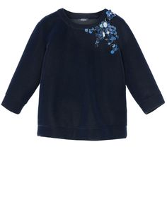 MAX&Co. - Velvet jersey sweatshirt with decoration, Midnight Blue - Sweatshirt in jersey with a panné velvet effect. Decorated with maxi-sequins and beads along the side of the neckline. Straight silhouette. Roomy fit. Round neckline. Three-quarter length sleeves set into tailored armholes places slightly low on the shoulder. Cuffs and bottom of garment finished by turning under and hemming. Hip-length. - Free Shipping and Returns!