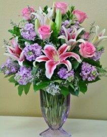 lavender stock pink roses pink stargazer lilies