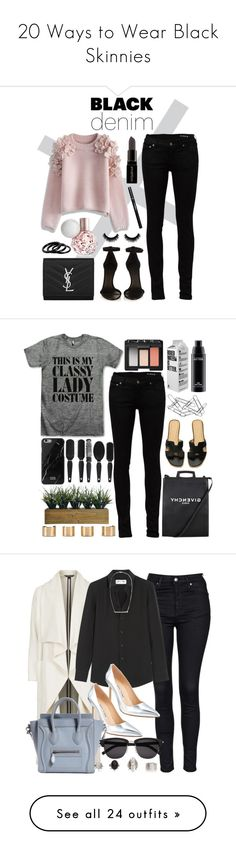 """20 Ways to Wear Black Skinnies"" by polyvore-editorial ❤ liked on Polyvore featuring blackskinnies, blackjeans, blackdenim, waystowear, Yves Saint Laurent, Isabel Marant, Chicwish, Smashbox, Furla and women's clothing"
