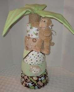 Diaper Cake, Palm Tree Deluxe, Gorilla, Jungle, Safari, Monkey, Baby Cake, Shower Gift for Boy or Girl, Blankets, Centerpiece