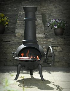 BLACK CAST IRON/STEEL MIX 105CM CHIMENEA CHIMINEA WITH SWING OUT GRILL FOR BBQ: Amazon.co.uk: Garden & Outdoors