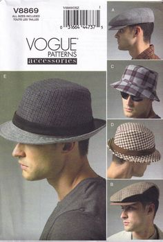 9831a234ce4 Sewing Pattern Mens Fedora Hat Bucket and Newsboy Cap Vogue 8869 Head  Accessory Uncut Factory Folded