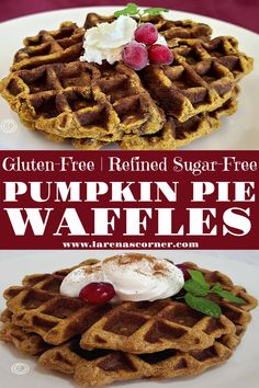 Gluten-Free Pumpkin Pie Waffles will add warming spices and a comforting flavor to your breakfast table. In fact, if you love pumpkin these are soon to be a family favorite. The sweetness of the cinnamon, cloves, ginger mixed with pumpkin. What is better than that? Fall means time for pumpkin-flavored items. Needless to say, pumpkin waffles will bring your breakfast to the next level. #glutenfree #refinedsugarfree #pumpkinwaffles Sugar Free Pumpkin Pie, Gluten Free Pumpkin Pie, Pumpkin Recipes, Fall Recipes, Delicious Recipes, Holiday Recipes, Easy To Make Breakfast, Breakfast Ideas, I Love Food