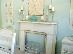 gives me the idea to use a half door as a fake mantel on fireplace by leaning  it on